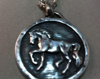 Prancing Horse  Medallion in Pewter Necklace, Pewter Horse Necklace, Eqiestrian Necklace