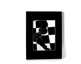 Black and White Chess Board Linocut Print Set