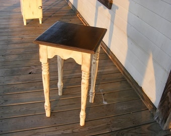 Small Side Table Hand Turned Legs  Handcrafted Distress Ivory and Brown