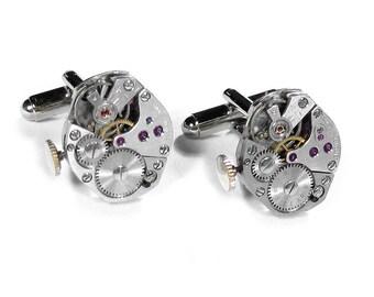 Steampunk Jewelry Cufflinks Vintage VERTICAL STEMMED Ruby Watch Movement Mens Cuff Links Anniversary Wedding - Jewelry by Steampunk Boutique