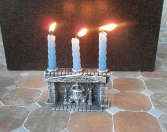 Log Cabin Fireplace Pewter Candle Holder