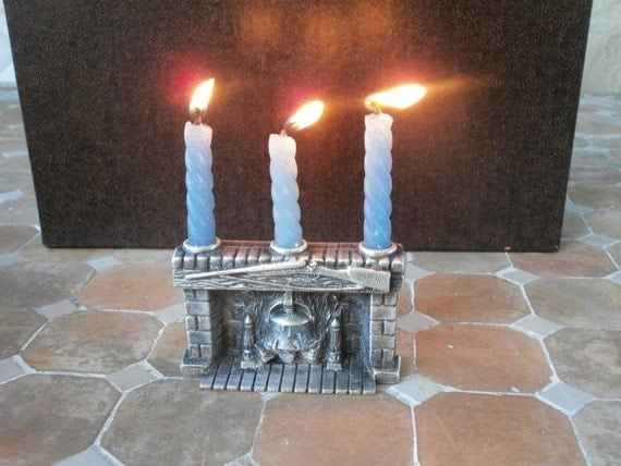 Log Cabin Fireplace Pewter Candle Holder
