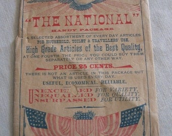 Antique The National Handy Package Printed Paper Bag American Eagle Flag Cripple's Appeal