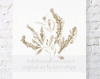 Seaweed in Natural 11x14 Watercolor Print - Sea Coral Wall Art in Natural Taupe