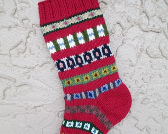 Hand knit Christmas stocking rose red #3 with FREE US SHIPPING