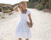 Vintage 50s Dress/ 1950s Cotton Dress/ White Crochet Button-Up Dress w/ Full Skirt XS/S