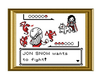 Game of Thrones Pokemon Counted Cross Stitch Pattern PDF Instant Download