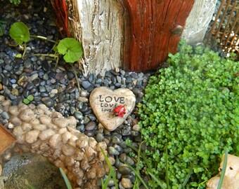 Fairy Garden Engraved Stone Miniature Garden Accessories Engraved Stone Miniature Ladybug
