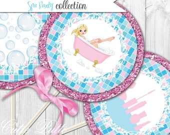 "Spa Party Printable 4"" Themed Party Circles by Cutie Putti Paperie"