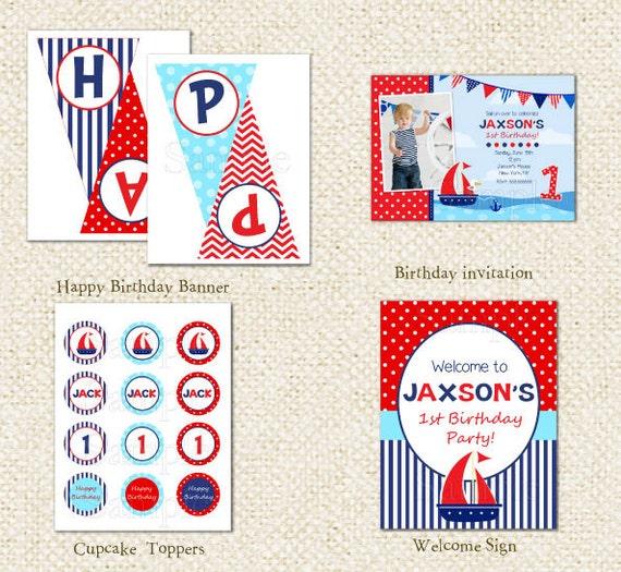 Nautical Sailboat DIY Printable Personalized Birthday Party
