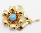 Vintage Brooch Signed Coro Gold Metal Blue and Red Stones