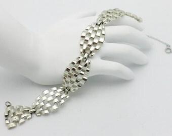 Vintage Coro Bracelet Signed Silvertone Metal