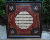 "Primitive Wood Solitaire Game Board Folk Art Gameboard 14"" x 14"""