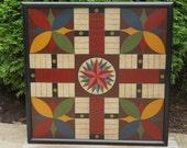 "Large 25"" x 25"" Primitive Wood Parcheesi Game Board Folk Art Game Board"