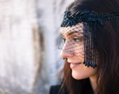 Black Headdress with Veil & Vintage Beading - BLACK DRAGON