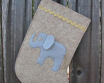 Elephant Stocking Christmas Stocking Wool Felt Ecofelt Eco Felt natural Wool with gold colored golden rickrack rick rack