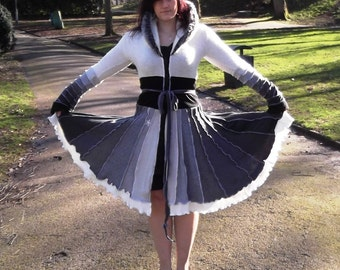 Handmade Grey & Cream Sweater Coat with Fur Hood Trim - UK 12/14 - Kat Wise, fairy, faerie, mythical, upcycled, gothic, pixie, hooded, lush
