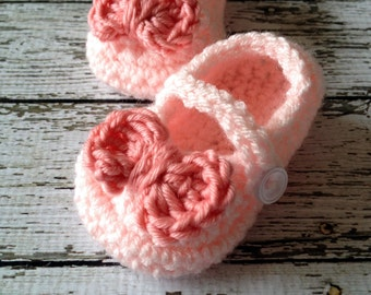 Mary Jane Baby Booties/ Baby Shoes/ Soft Shoes/ Shoe in Pale Pink and Tangerine Available in 0 to 24 Months Size- MADE TO ORDER