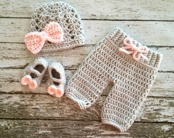 The Ashlee Beanie in Gray and Pale Pink and Matching Pants and Booties Available in Newborn to 6 Month Size- MADE TO ORDER