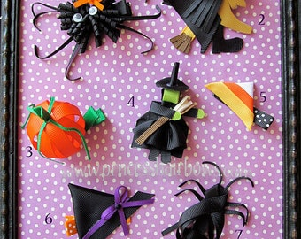 Ribbon Sculpture Characters Halloween Hair Clips Set-