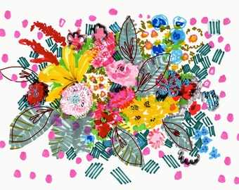 Blooming Wednesday - A4 print - 8 x 11 inch giclee print - Floral Illustration from original drawing