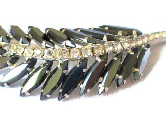 Beautiful Hematite and Clear Rhinestone Leaf Brooch, Pin, Marquis Hematite in Plated Silver