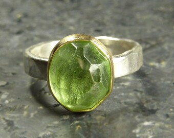 Rose Cut Peridot Gemstone Ring - 18K gold and silver