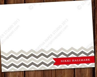 Women's Chevron Personalized Stationery Note Cards - Adult Stationary