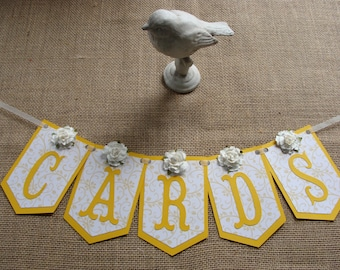 CARDS Banner - Gold & Off White Pennants with Scrolls
