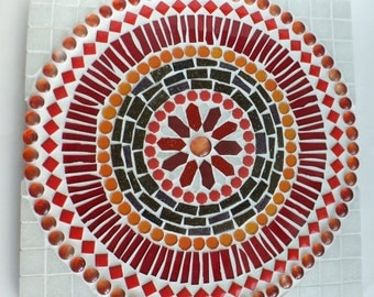 Mosaic Mandala Wall Art, Vitality Mandala in Red and Orange