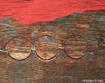 Five Circles, Rustic, Weathered, Wood, Grain, Knotted Wood, Abstract, Texture, Brown, Tan, Red, Blue, 8x10, painted wood, photograph