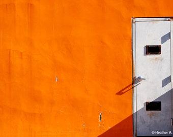Orange wall, bright, minimalist, bold, door, photograph, shadow, simple, door, architecture