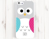 Cute Owl iPhone 6 plus Case - Personalized Monogram First Name iPhone 6 5s 5c 5 4s Case, Samsung Galaxy s5 s4 s3, Note 3 Case Polka dot Am14