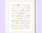 Three Little Birds  Print Song Quote in purple, blue and green for Brooklyn bedding 8X10, 11X14, 16x20 by YassisPlace, Many Colors