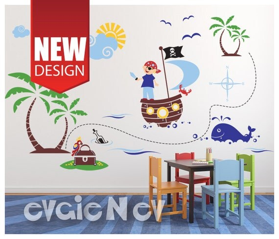 pirates wall decals large decal set of pirate on a. Black Bedroom Furniture Sets. Home Design Ideas