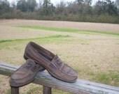 On Sale Vintage Fashion Men's Brown Leather Original Penny Loafers 1970 Men's vintage Hipster