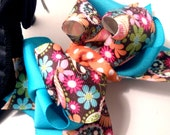 Girls Boutique Layered Hair Bow - Floral in Brown and Teal - Brown, Blue, White, Paisley