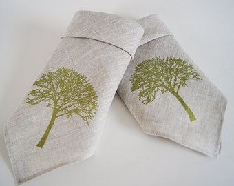 Organic Natural Linen Cloth Napkins/ Tree Of Life Design/ Set of Two/ Hand Printed/ Ready To Ship