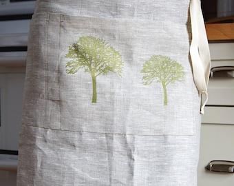 Organic Linen Apron/ Half Apron/ Tree Of Life Hand Printed/ Natural Linen/ Ready To Ship