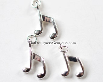 One Sterling Silver Octave Music Note Charm with Jump Ring 15 x 9mm