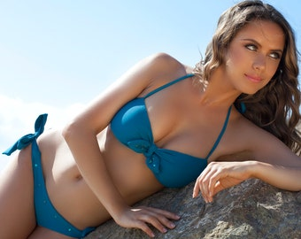 Bandeau Teal Blue Sailor Swarovski Bikini Bandeau Swimsuit