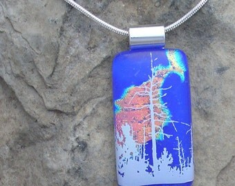 Tree Necklace Fused Dichroic Glass Forest Pendant