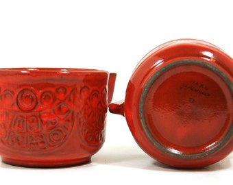Mid Century Bowls - Waku  West Germany - Red