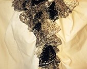 Sashay Scarf, ruffled, Black, White, Silver with Sequins, handmade