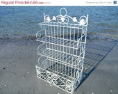 Shabby Metal Shelves - Chippy White Four Tier Shelf or Rack 9404