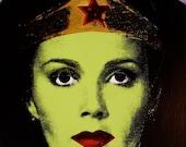 Original Wonder Woman Silkscreen Painting Andy Warhol Style