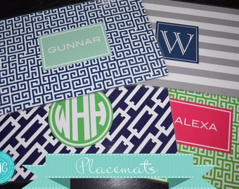 Personalized Placemats, Monogrammed Placemats, Laminated Placemats- Set of 6- Your Choice of 2 Colors- Design your Own