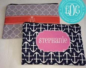 Personalized Cosmetic Bag, Monogram Makeup Pouch, Bridesmaid gift, Gift for her