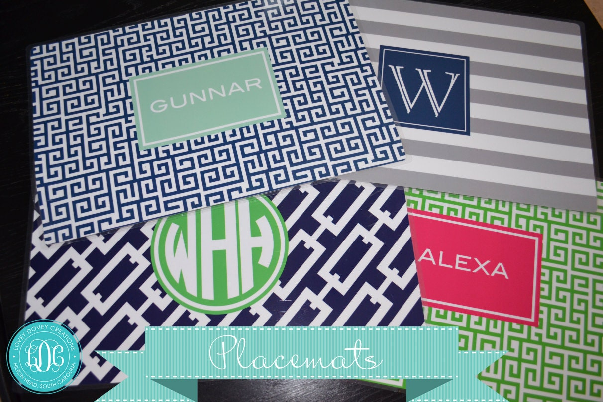 Monogrammed placemat personalized placemats custom laminated for Table mats design your own