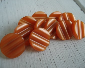 Ribbed Pumpkin Jade Orange Moonglow Lucite Celluloid Push Pins Set of 11 Luminous Woodland